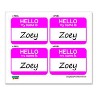 Zoey Hello My Name Is - Sheet of 4 Stickers