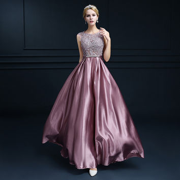 BW381 Romantic Appliques Pink Long Bridesmaid Dressess 2017 Formal Purple Satin Scoop Backless Prom Dress Cheap Vestido De Festa