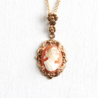 Antique 10k Yellow Gold Carved Shell Cameo Pendant Necklace - 1920s 1930s Floral Filigree Fine Jewelry Hallmarked Esemco