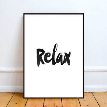 "Typography art""Relax""printable wall art,Modern wall art,Black&white,Home decor,Wall art,Word art,Instant download,Relax print,Digital print"