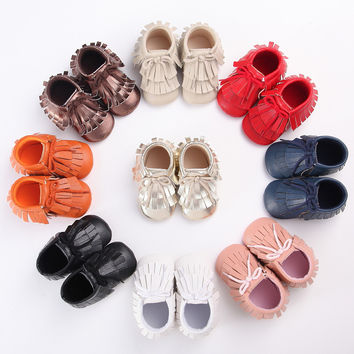 2016 New double Fringe lace-up PU Leather Suede Toddler Baby Boots Moccasins Newborn First Walkers Infant Soft Shoes 0-18 M