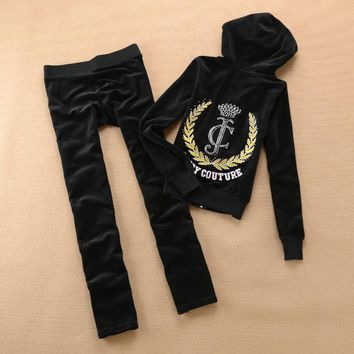 Juicy Couture Crown Logo Velour Tracksuit 6024 2pcs Women Suits Black