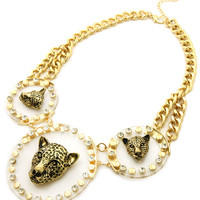 Clear Gold Leopard Pendants Necklace Chain Set