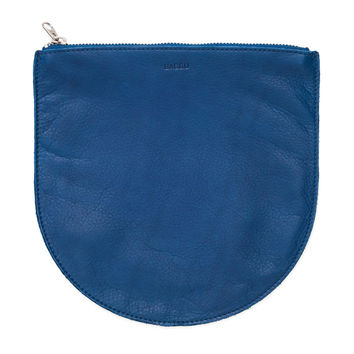 Large Leather Pouch: Blue