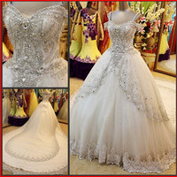 YZ New Arrival Sweetheart Tulle Luxury Crystal Appliques Wedding Dresses from YZ Fashion Bridal