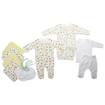 Bambini Neutral Newborn Baby 10 Pc Layette Baby Shower Gift Set  - Made in USA