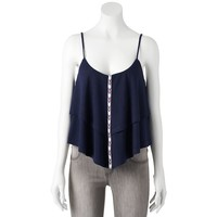Mason & Mackenzie Tiered Triangle Crop Tank - Juniors, Size: