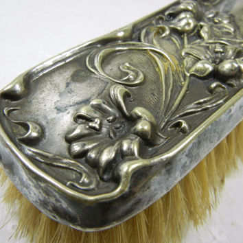 Silver Art Nouveau brush / German Silver / soft bristle brush / Lily design / Continental silver / Sterling / gift