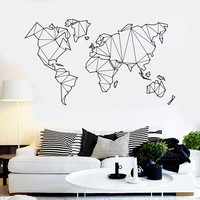 Vinyl Wall Decal Abstract Map World Geography Earth Stickers Unique Gift (838ig)