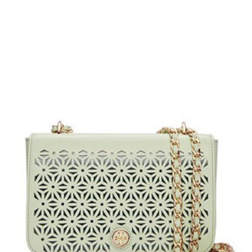 Tory Burch Robinson Floral Perforated Adjustable Shoulder Bag