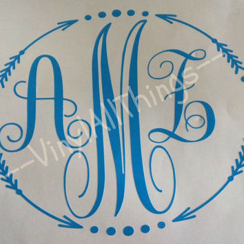 Monogrammed Vinyl Decal For Car, Monogram Decal Sticker Laptop, Monogrammed Sticker Notebook, Monogram Decal for Cell Phone, Monogram Gift