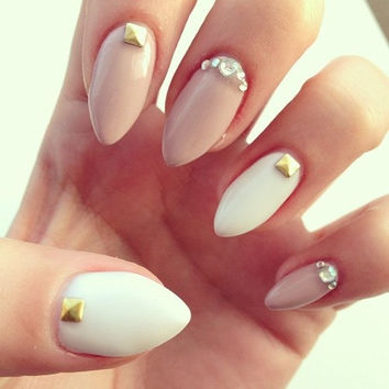 Cream and white nails with gold studs and Swarovski crystals