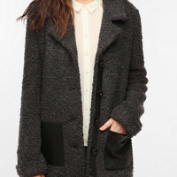 Sparkle & Fade Fuzzy Faux Leather Pocket Coat