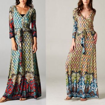 Eliza Bella for Tua Print Maxi Boho Dress Faux Wrap Bodice Plus Size