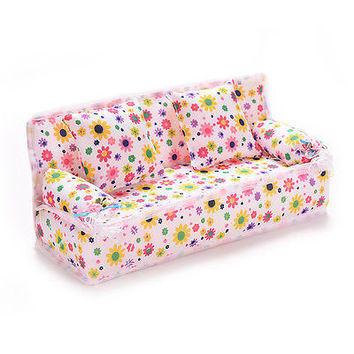 3Pcs/set Mini Dollhouse Furniture Flower Printing Cloth Sofa Couch&2 Cushions HU