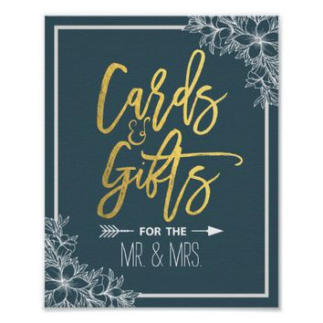 White Floral Gold Script Cards Gifts Wedding Sign Poster