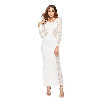 Embroidery o neck hollow out long summer dress Women sexy white lace maxi dress Strap bodycon mesh party dress 2019