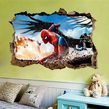 Spiderman iron man wall sticker decal for kids rooms cartoon decorative wall dec
