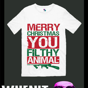 Merry Christmas You Ya Filthy Animal exclusive hand print men t shirt 30423