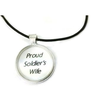 Mama Designs Inspiring 'Proud Soldier'S Wife' Dome Necklace in Sterling Silver and Leather | Overstock.com Shopping - The Best Deals on Necklaces