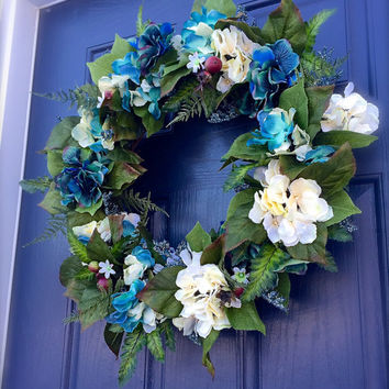 Hydrangea Wreath, Spring Hydrangea Wreaths, Blue Wreath, Spring Wreaths, Spring Door Decor, Spring Floral Wreath