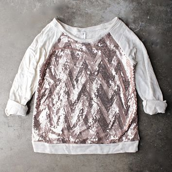 chevron sequin french terry shirt - oatmeal