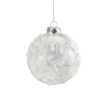 """3.25"""" Clear with White Glitter Bead Glass Ball Christmas Ornament"""