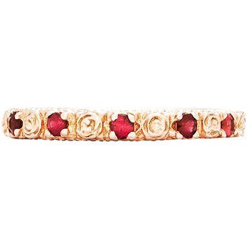 Tea Rose Flower Milgrain Ring With Rubies