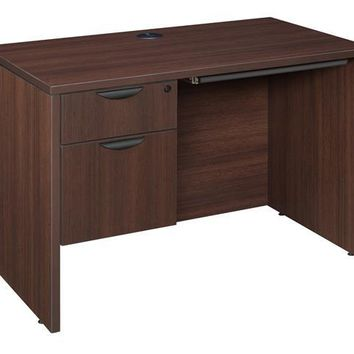 "Legacy 42"" Single Pedestal Desk with Pencil Drawer- Java"