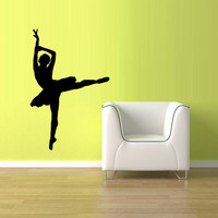 Wall  Decal Vinyl Sticker  Decor Art Bedroom Design Mural Nursery Ballet Gymnastic Ballerina Dancer Silhouette (z2516)