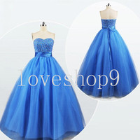 2014Custom Satin Tulle Beads Prom Dress Evening Party Homecoming Bridesmaid Cocktail Formal Dress New Arrival Lovely Bridesmaid Dress