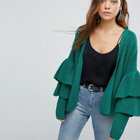 Only Ribbed Cardigan With Ruffle Sleeves at asos.com
