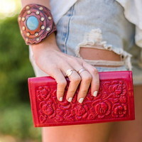 Tooled Red Leather Wallet