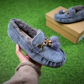 Ozlana Ugg The Fluffy Loafer Blue Slippers - Best Online Sale