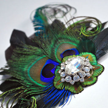 Peacock Hair Clip Bridal Head Piece Peacock by gildedshadows