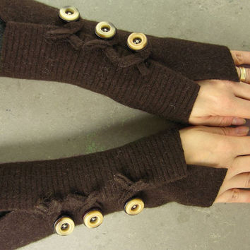 Dark brown arm warmers fingerless gloves fingerless by piabarile