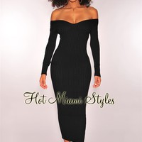 Black Ribbed Knit Long Sleeves Maxi Dress