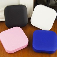 Solid Square Contact Lens Case With Mirror Women Colored Contact Lenses Box Eyes Contact Lens Container Lovely Travel Kit Box