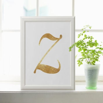 Letter Z Custom initial name print Art style birthday gift girls/Boys art in Gold Foil romantic wall art hanging baby decor GOLD FOIL PRINT