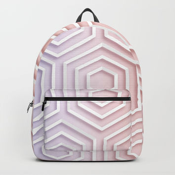 3D Hexagon Gradient Minimal Minimalist Geometric Pastel Soft Graphic Rose Gold Pink Backpacks by AEJ Design