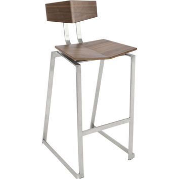 Flight Contemporary Stainless Steel Counter Stools, Walnut Wood (Set of 2)