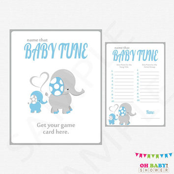 Name that Baby Tune, Elephant Baby Shower Games, Name that baby song, Blue and Gray, Printable Baby Shower Boy, Sign INSTANT DOWNLOAD ELLBG