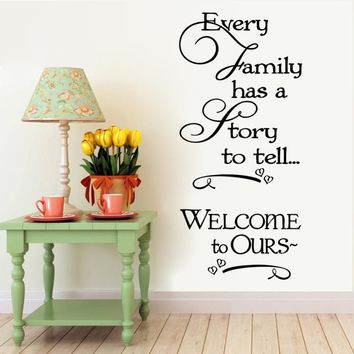 Welcome To Our Home Family Quote Heart Vinyl Wall Stickers