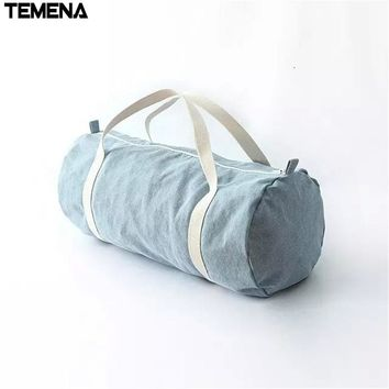 TEMENA Canvas Cylindrical Sports Bag For Gym Brand Mulifunctional Duffel Shoulder Fitness Bags Gym Bag Men Women AC21