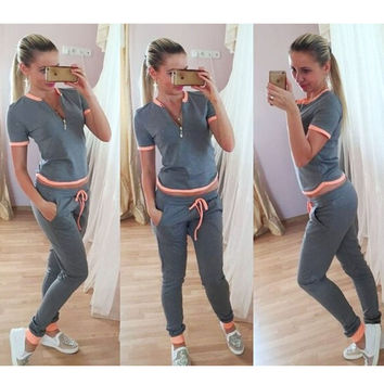 Vancol Summer Two Piece Set Zipper Top Short Sleeve Sweatershirt Thin Long Pants Tracksuit Sport Pullover Women Pants Suits Sets