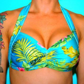 Blue Hawaii Tropical Floral Halter Swim Top