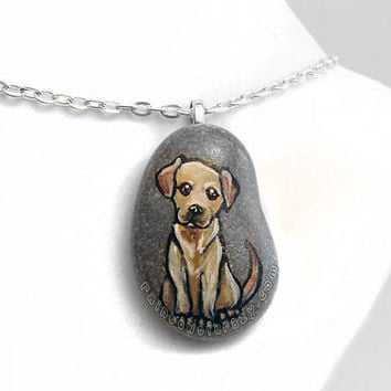Labrador Art, Pet Portrait Necklace, Dog Pendant, Hand Painted Rock, Pet Memorial, Sympathy Gift, Beach Stone, Pet Loss Jewelry, In Memory