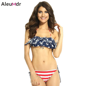 American Flag Bikini Women summer 2016 Sexy Tassel Bandeau Beach Wear 2 pieces Sets for girl swimwear bathing suit 40664