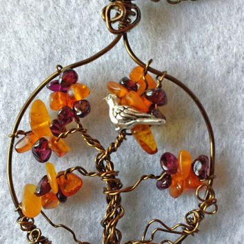 Handcrafted Wire Wrapped Honey Amber and Garnet Gemstone Tree of Life Pendant,Nature Jewellery,Healing Crystals,Reiki,Yoga Jewelery, Bird