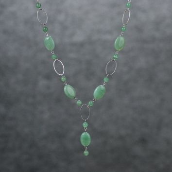 Oval Jade long lariat necklace Bridesmaids gifts Free US Shipping handmade Anni Designs
